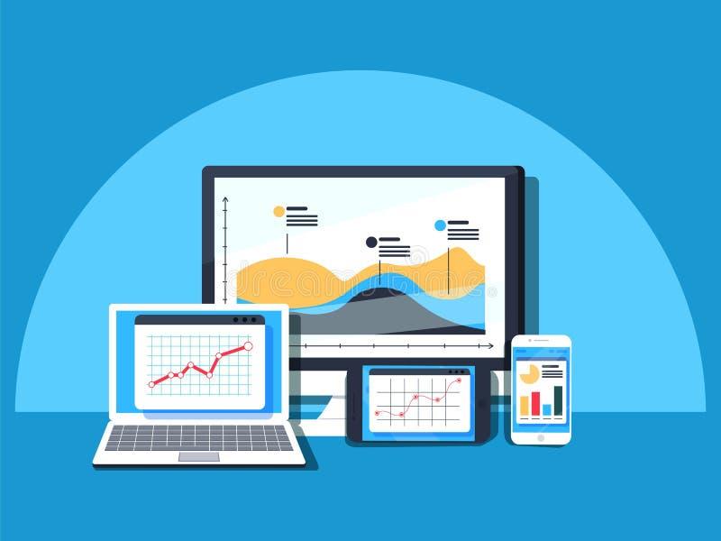 Het gegevensbeheer, Gegevens centreert, Bescherming, Opslag, digitale privacy, netwerkserver vector illustratie