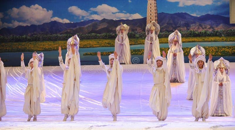 Het geheim van de het balletmaan van gebed ceremonie-Hui over Helan royalty-vrije stock afbeeldingen