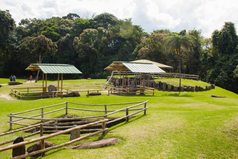 Het geheimzinnige park van San Agustin Archeological, Huilla, Colombia stock foto's