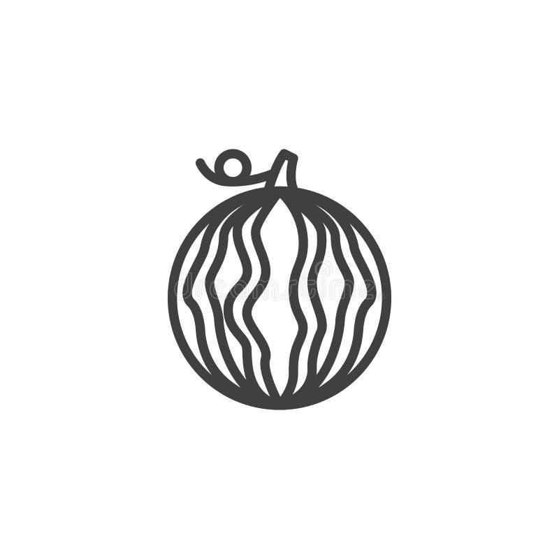 Het gehele pictogram van de watermeloenlijn royalty-vrije illustratie