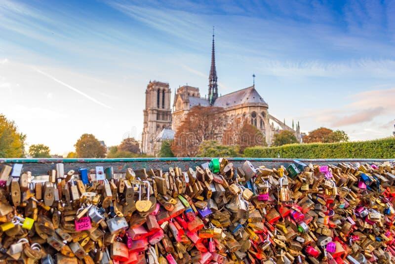 Het geheugen van liefdesloten van Notre-Dame de Paris royalty-vrije stock foto's
