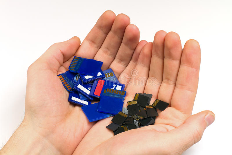 Het geheugenkaarten van MicroSD en van BR stock foto
