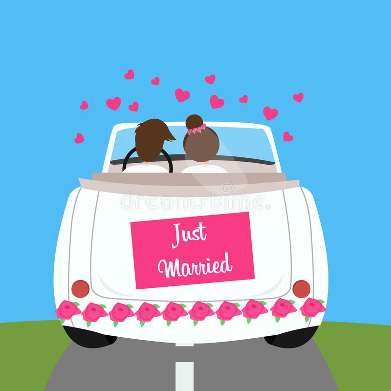 Het gehuwde enkel huwelijk van het paarwittebroodsweken van de huwelijksauto royalty-vrije illustratie