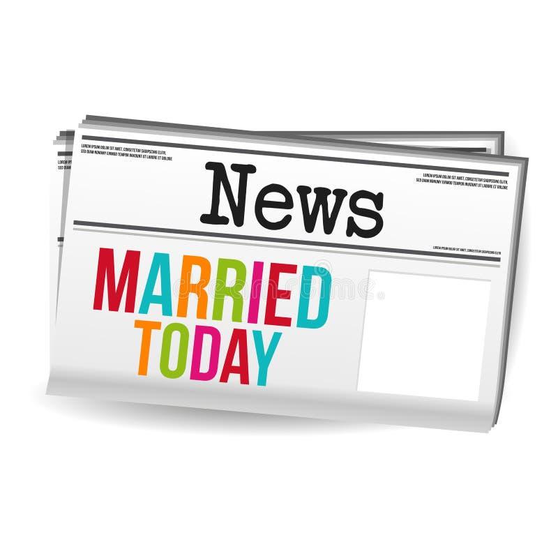 Het gehuwde vandaag Nieuws van het Krantentijdschrift Eps10 Vector vector illustratie
