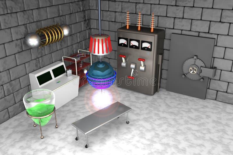 Het gekke Gekke Laboratorium van de Wetenschapper royalty-vrije illustratie