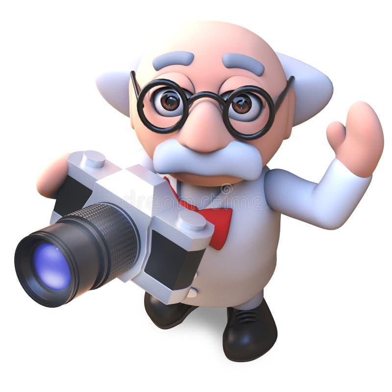 Het gekke karakter die van de wetenschapperprofessor een foto met zijn nieuwe filmcamera nemen, 3d illustratie vector illustratie