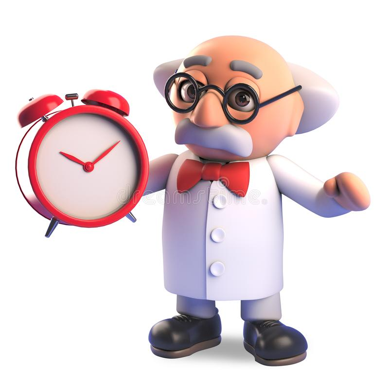 Het gekke karakter die van de wetenschapperprofessor zijn wekker voor het ochtendkielzog opzetten, 3d illustratie royalty-vrije illustratie