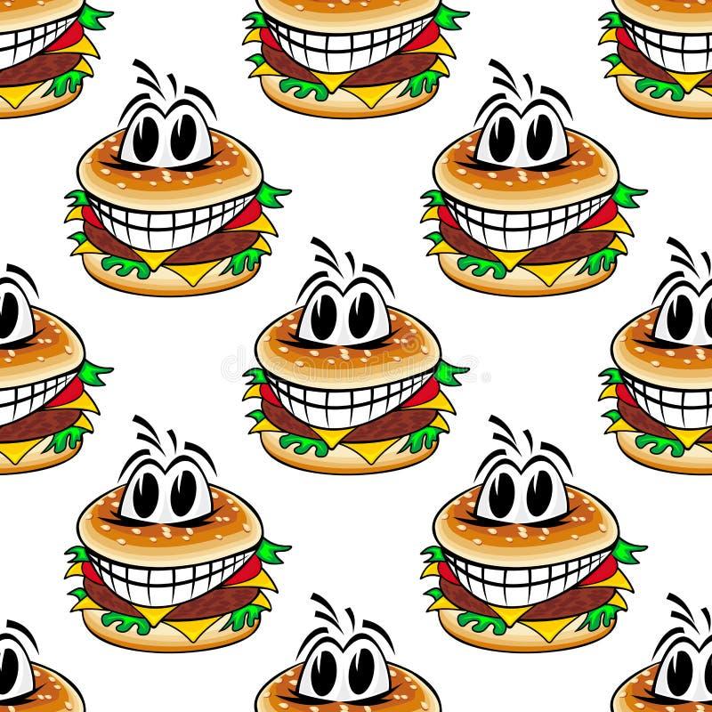 Het gekke naadloze patroon van snel voedselcheeseburgers royalty-vrije illustratie