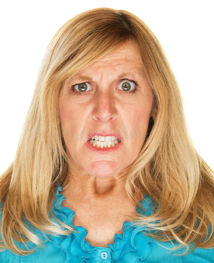 Het gekke Vrouw Het voorhoofd fronsen stock foto
