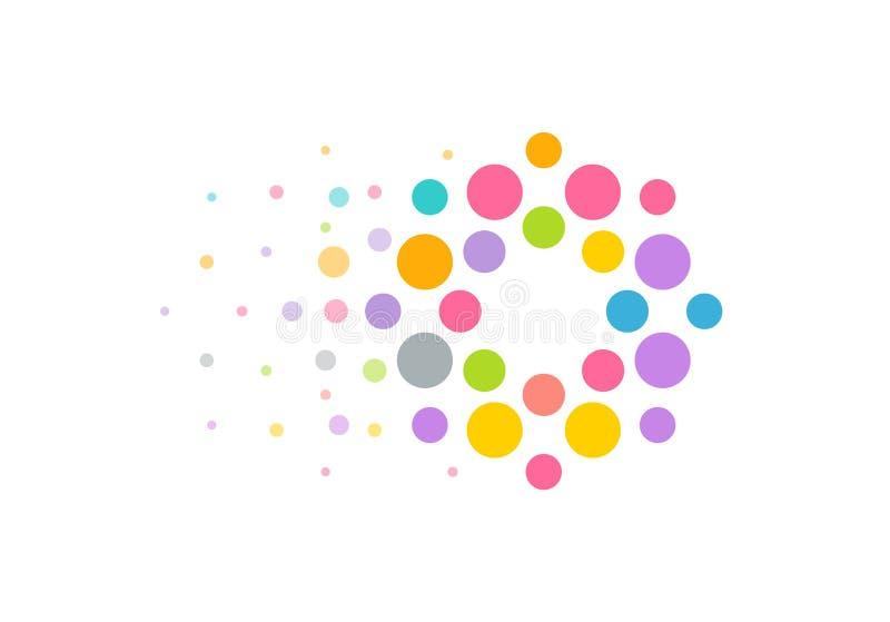 Het gekleurde concept van het cirkelsembleem met het bewegen van voorwaarts effect Helder modern perfect embleem van seo of websi stock illustratie