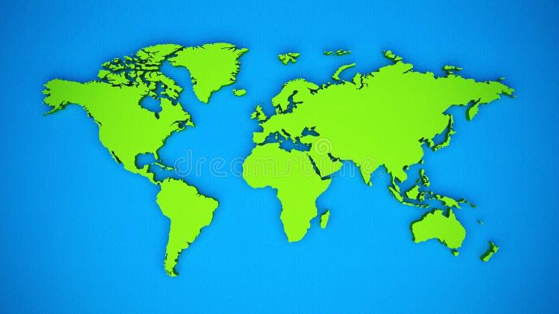 Het gekleurde 3D thema van de wereldkaart stock foto's