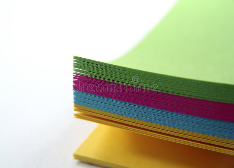 Het Gekleurde Document Van De Nota Stock Foto's
