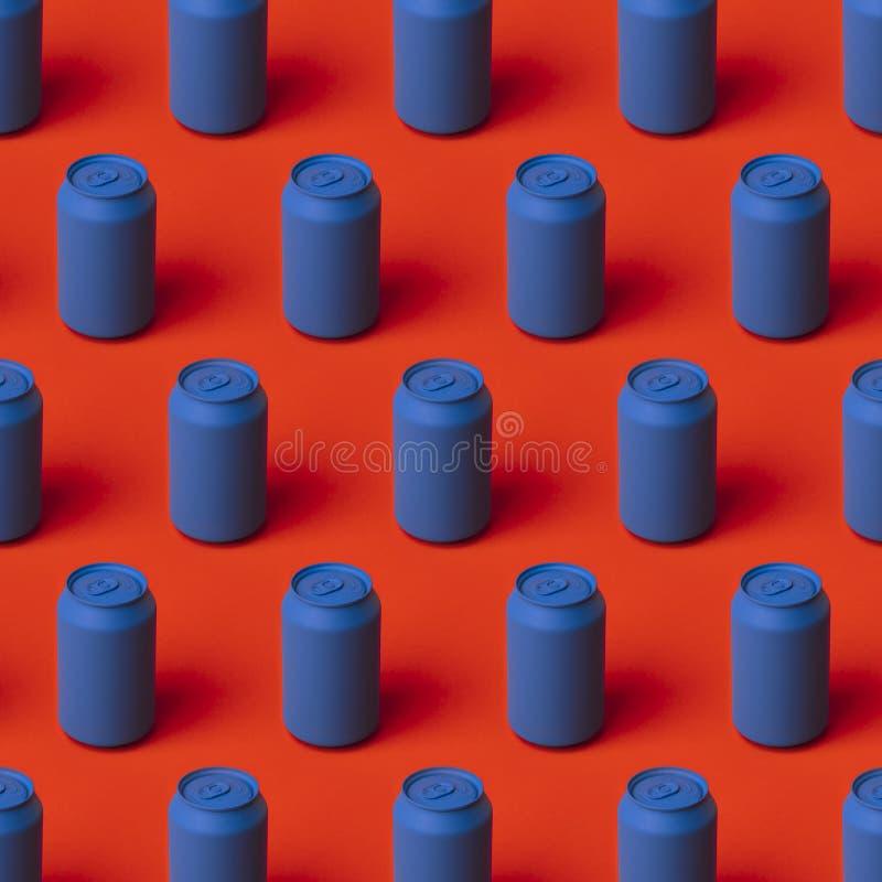 Het gekleurde metaal kan in herhaling op rood vector illustratie