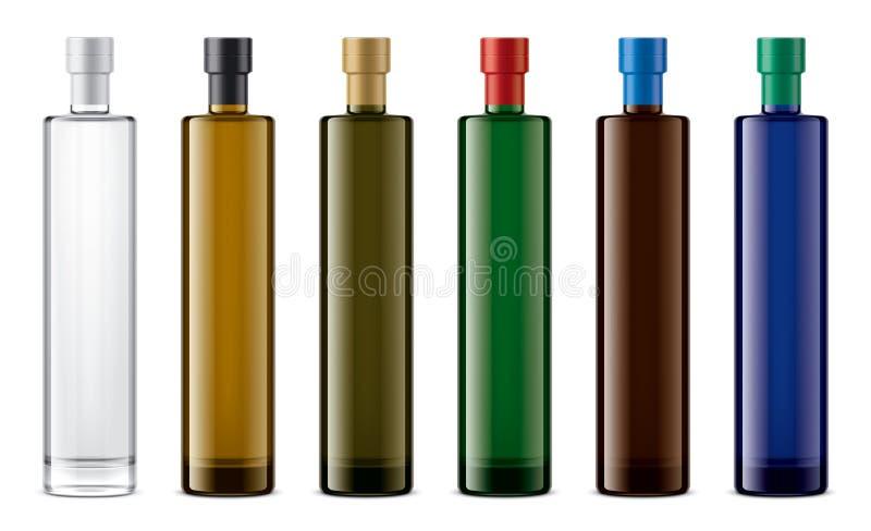 Het gekleurde model van glasflessen Folieversie stock illustratie