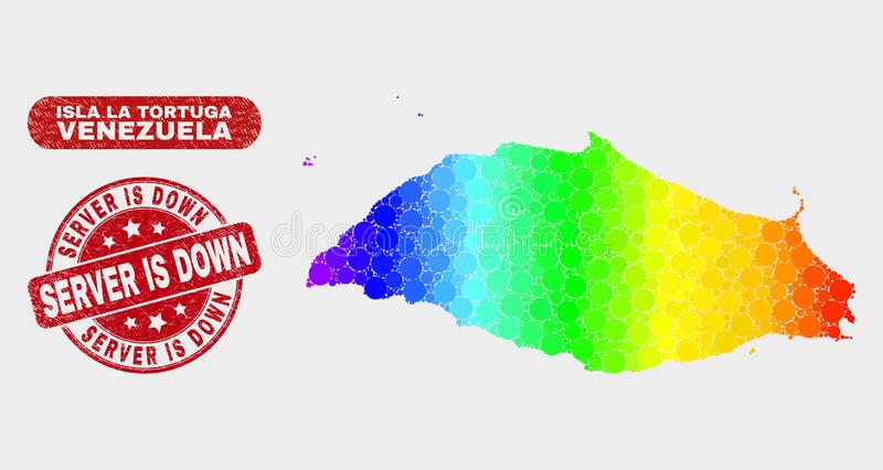 Het gekleurde Mozaïek Isla La Tortuga Map en de Noodserver zijn onderaan Verbinding stock illustratie