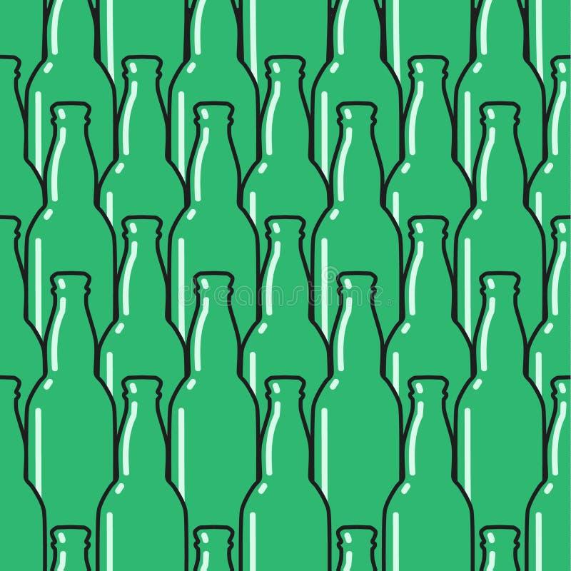 Het gekleurde naadloze patroon van glasflessen royalty-vrije illustratie