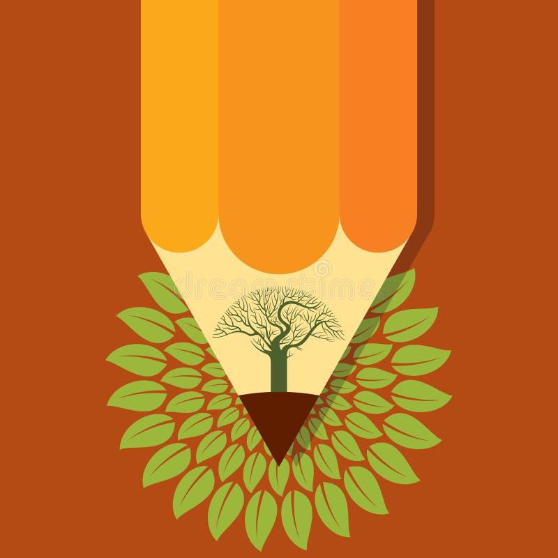 Het gekleurde ontwerp van de het potloodboom van het bladconcept stock illustratie