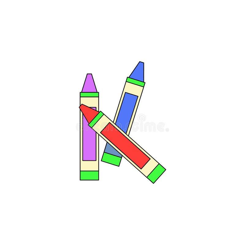 Het gekleurde pictogram van het beeldverhaalkleurpotlood stuk speelgoed De tekens en de symbolen kunnen voor Web, embleem, mobiel stock illustratie