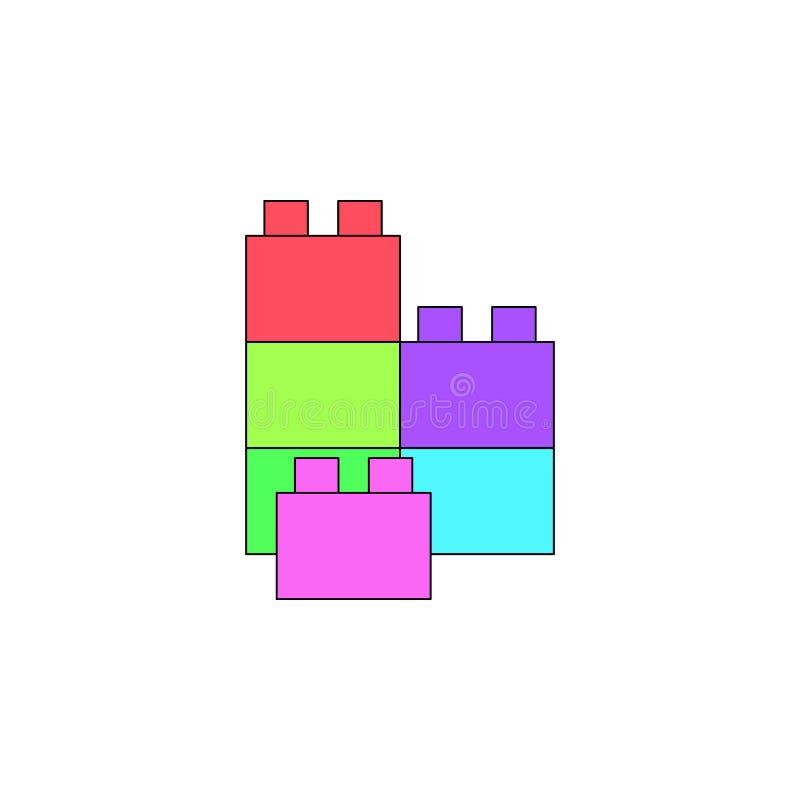 Het gekleurde pictogram van beeldverhaallego stuk speelgoed De tekens en de symbolen kunnen voor Web, embleem, mobiele toepassing stock illustratie