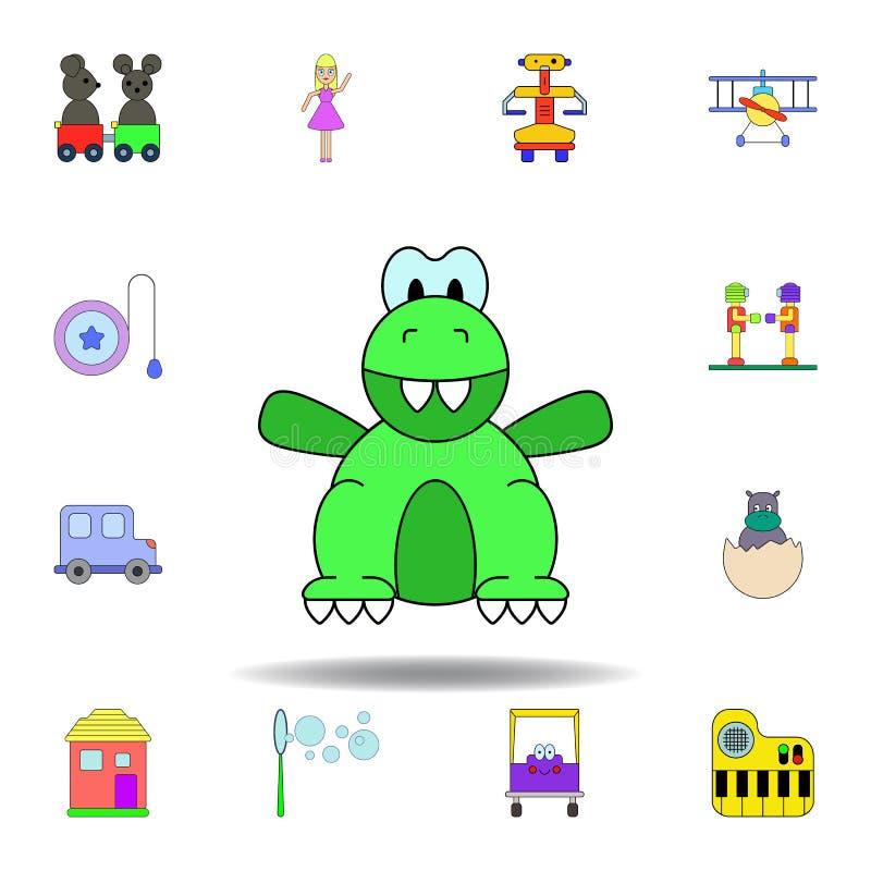 Het gekleurde pictogram van de beeldverhaaldinosaurus stuk speelgoed reeks de illustratiepictogrammen van het kinderenspeelgoed d royalty-vrije illustratie
