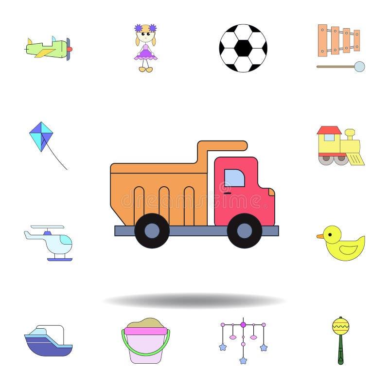 Het gekleurde pictogram van de beeldverhaalvrachtwagen stuk speelgoed reeks de illustratiepictogrammen van het kinderenspeelgoed  royalty-vrije illustratie