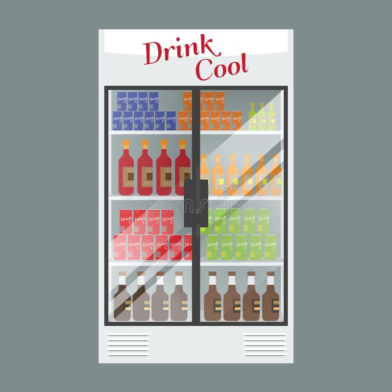 Het gekoelde hoogtepunt van de supermarktvitrine met veelvoudige dranken en dranken Geïllustreerde vector voor uw Modelontwerp stock illustratie