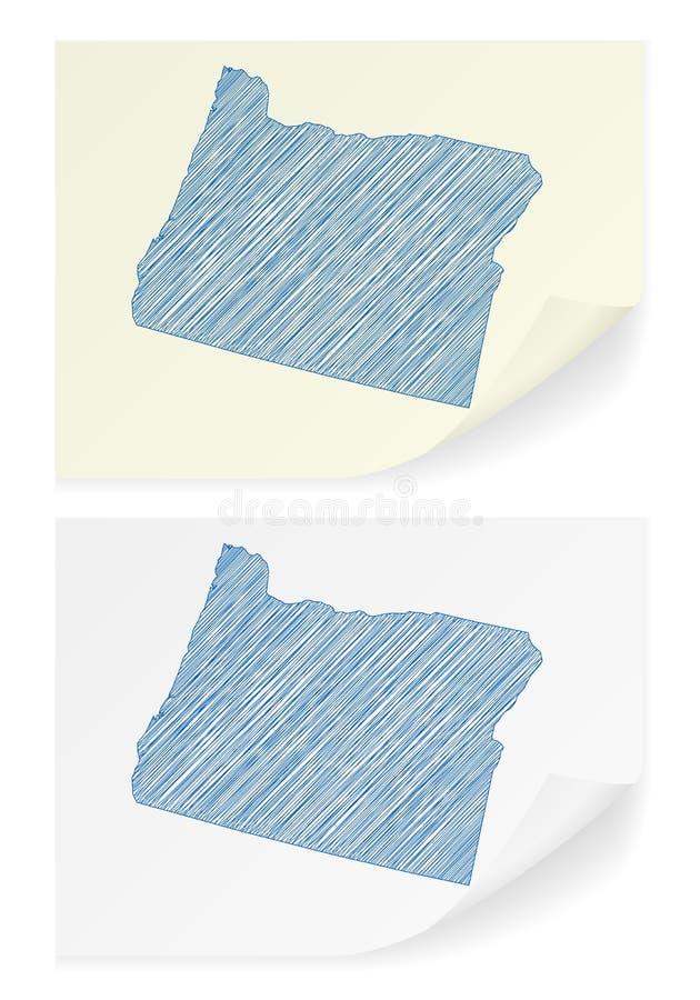 Het gekrabbelkaart van Oregon stock illustratie