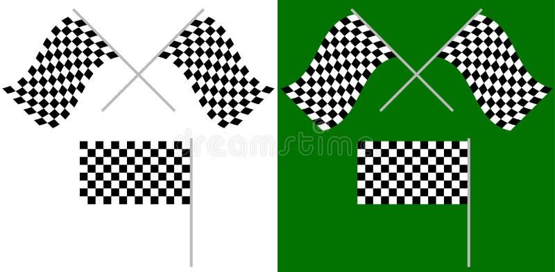 Het gekruiste en enige die rennen, op wit worden geïsoleerd/groene rasvlaggen stock illustratie