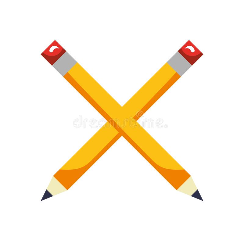 Het gekruiste houten hulpmiddel van de potlodencreativiteit stock illustratie