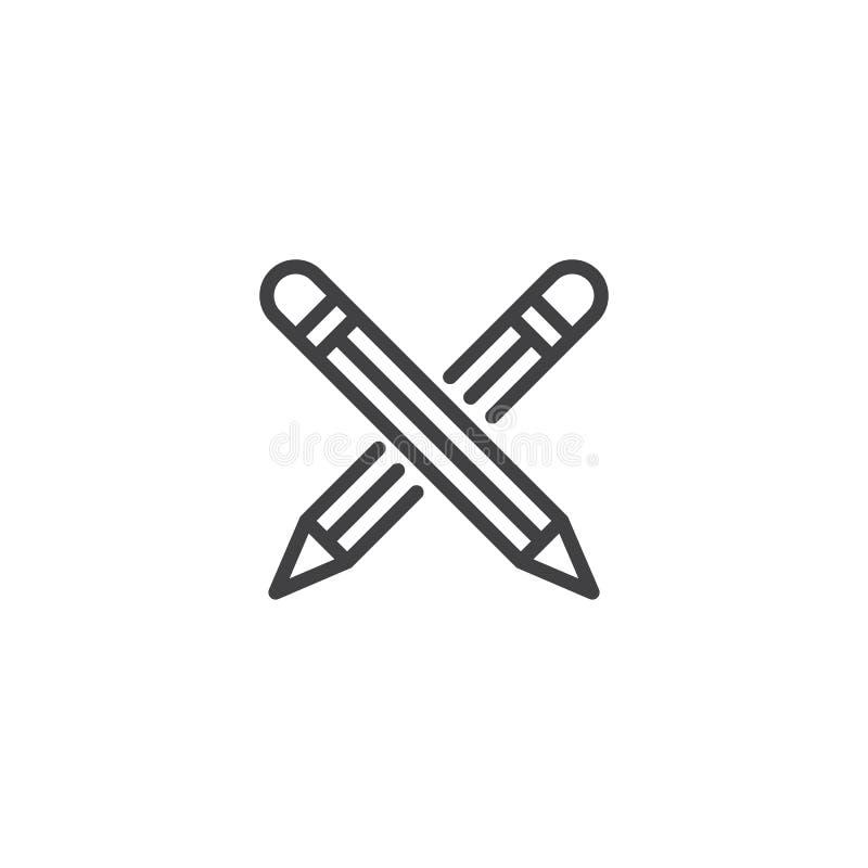 Het gekruiste pictogram van de potlodenlijn royalty-vrije illustratie