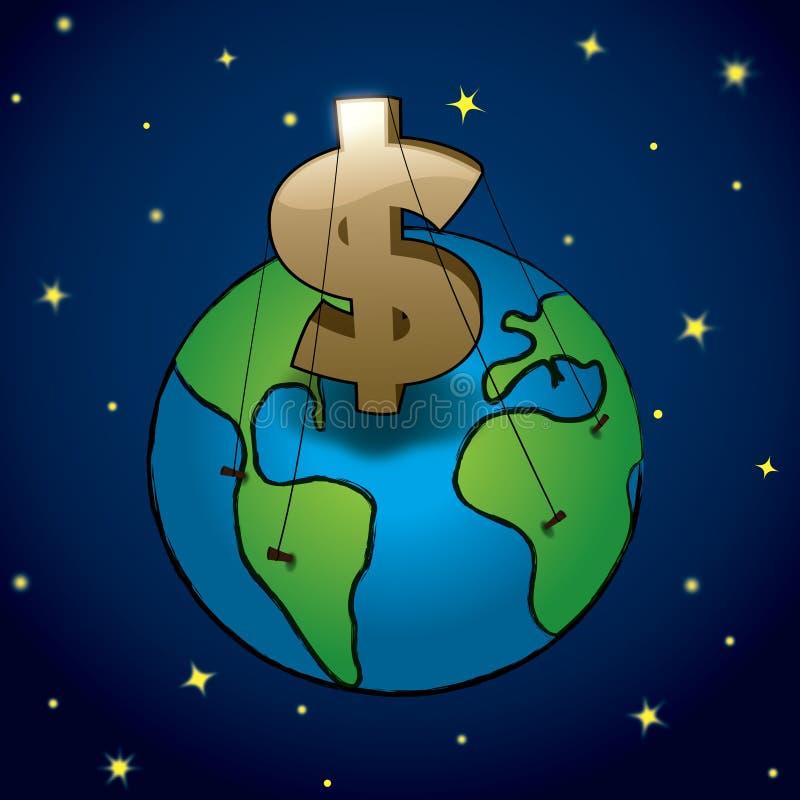 Het geld beslist Aarde royalty-vrije illustratie