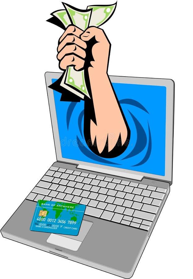 Het geld dat uit laptop van de hand komt
