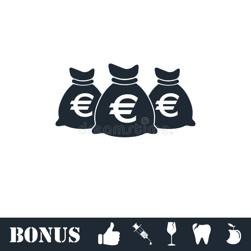 Het geld doet pictogramvlakte in zakken stock illustratie