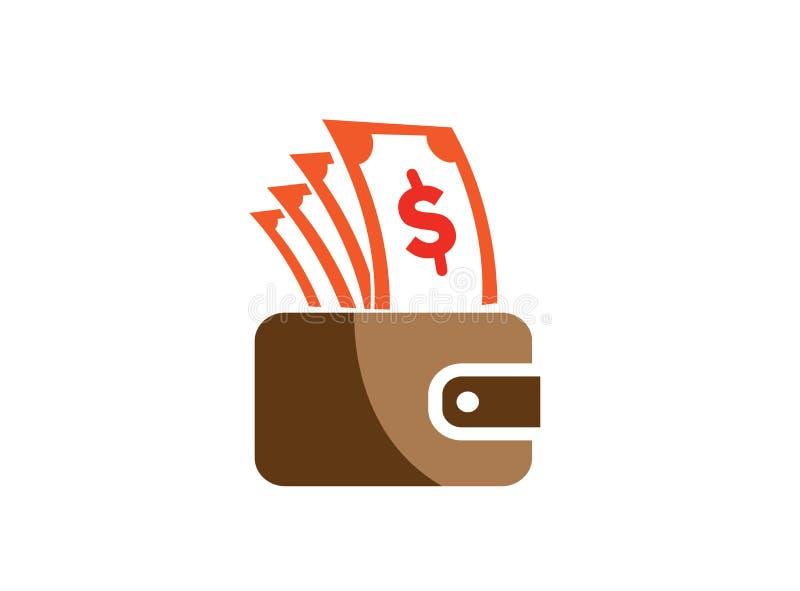 Het geld en de zak doen voor het winkelen, sparen geldsymbool in zakken voor de illustratie van het embleemontwerp royalty-vrije illustratie