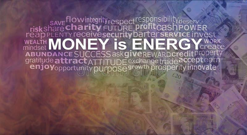 Het geld IS energieword Wolk stock illustratie