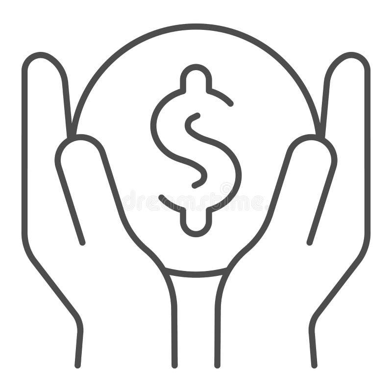 Het geld in handen verdunt lijnpictogram Inkomens vectordieillustratie op wit wordt geïsoleerd Het de stijlontwerp van het bespar vector illustratie