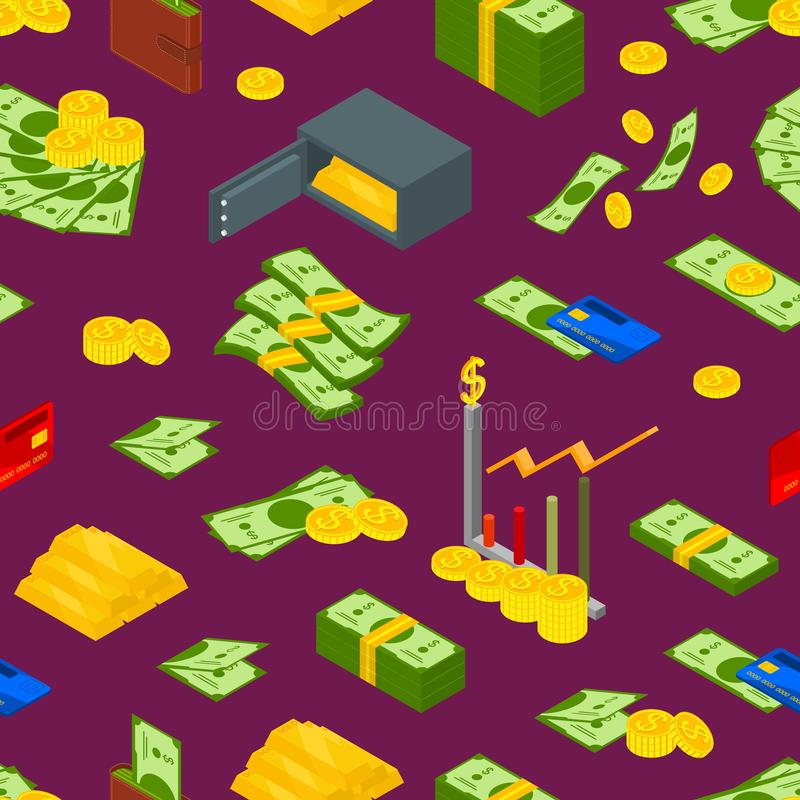Het geld ondertekent Naadloze Patroon Isometrische Mening Als achtergrond Vector vector illustratie