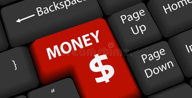 Het geld op toetsenbord gaat binnen royalty-vrije illustratie