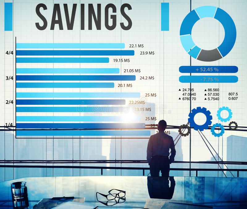 Het Geld van BudgetEconomy van besparingenfinanciën bewaart Concept stock foto