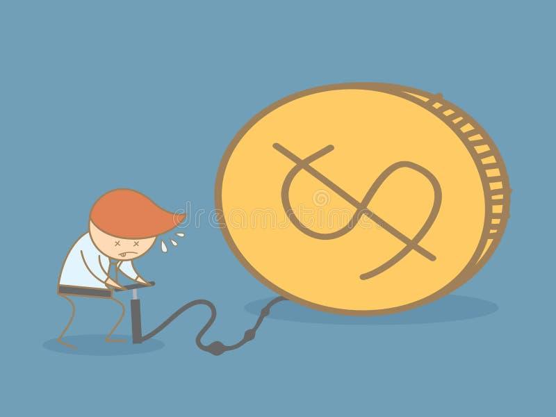 Het geld van de bedrijfsmensenpomp royalty-vrije illustratie