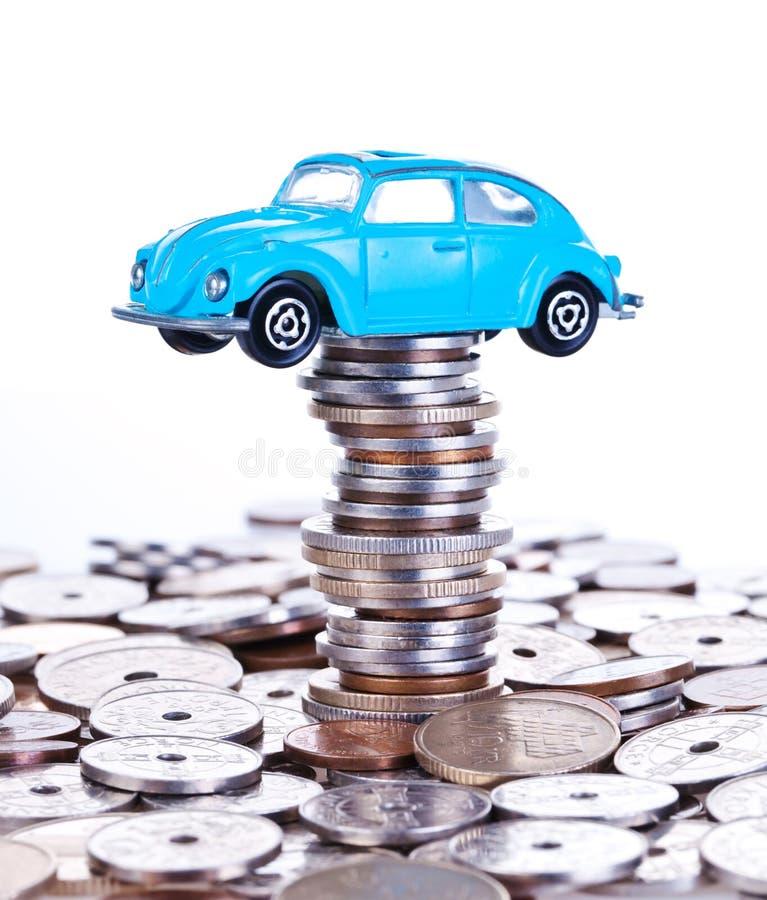 Het geld van de besparing voor auto stock foto