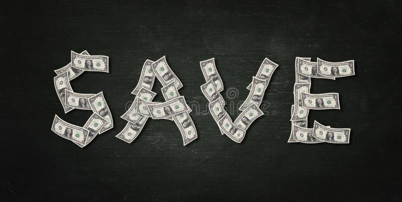 Het geld van de besparing De vorm van sparen woord maakt van dollarrekeningen stock foto