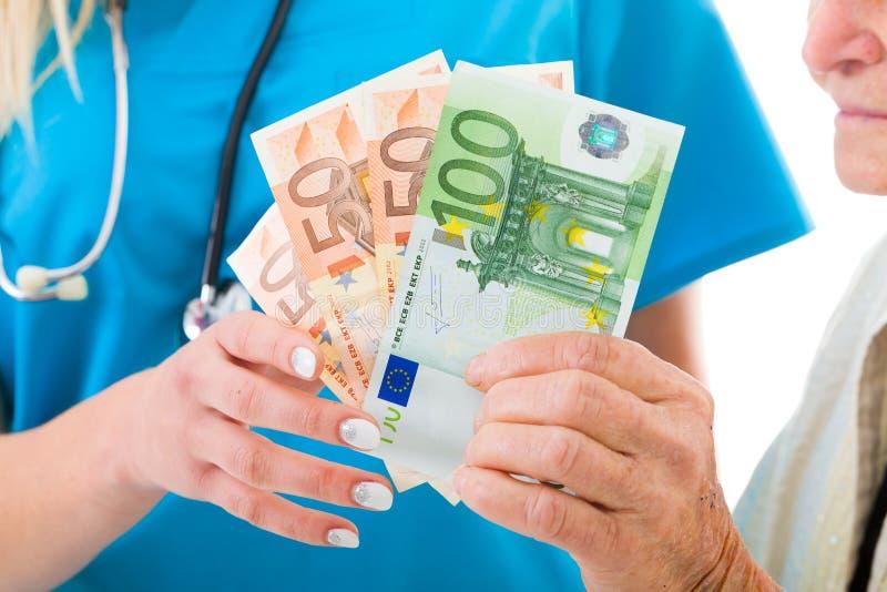 Het geld van de de ziekenhuizenbehoefte ook stock afbeelding