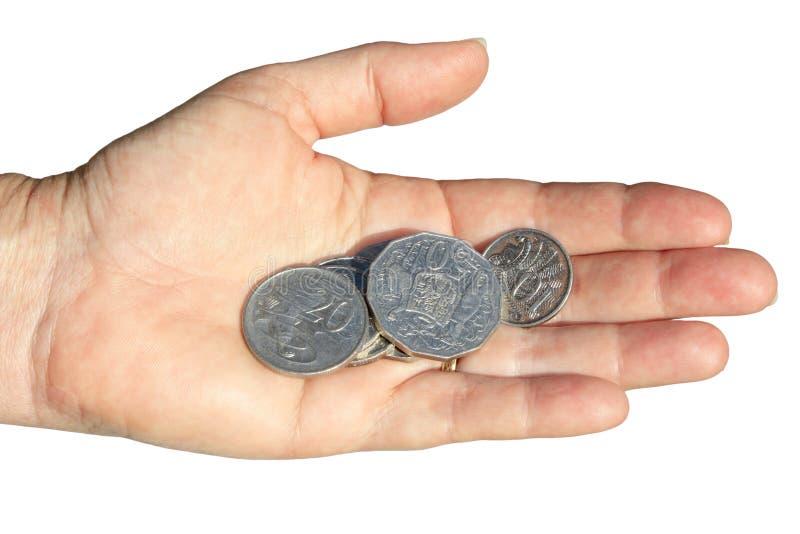 Het geld van de hand stock fotografie