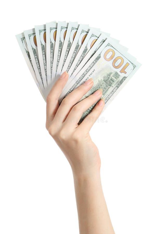 Het geld van de handholding honderd dollarsbankbiljetten royalty-vrije stock foto