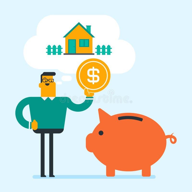 Download Het Geld Van De Mensenbesparing In Spaarvarken Voor Het Kopen Van Huis Vector Illustratie - Illustratie bestaande uit lay, huur: 107708950