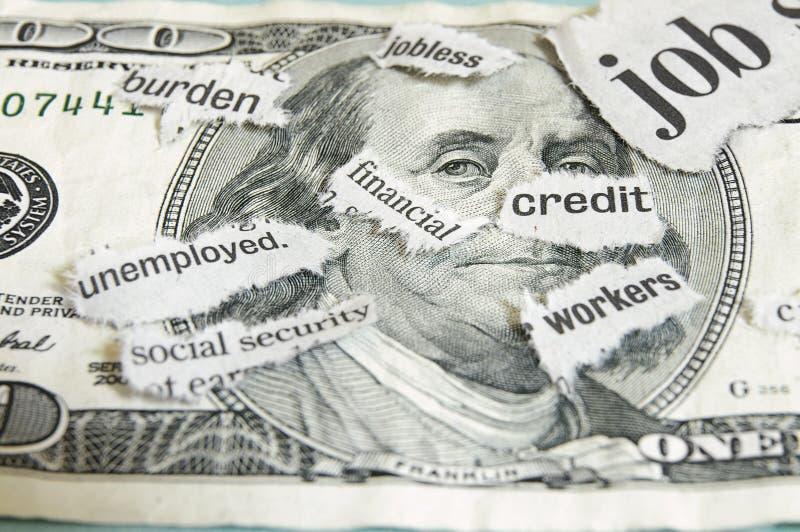 Het geld van het nieuws stock foto's