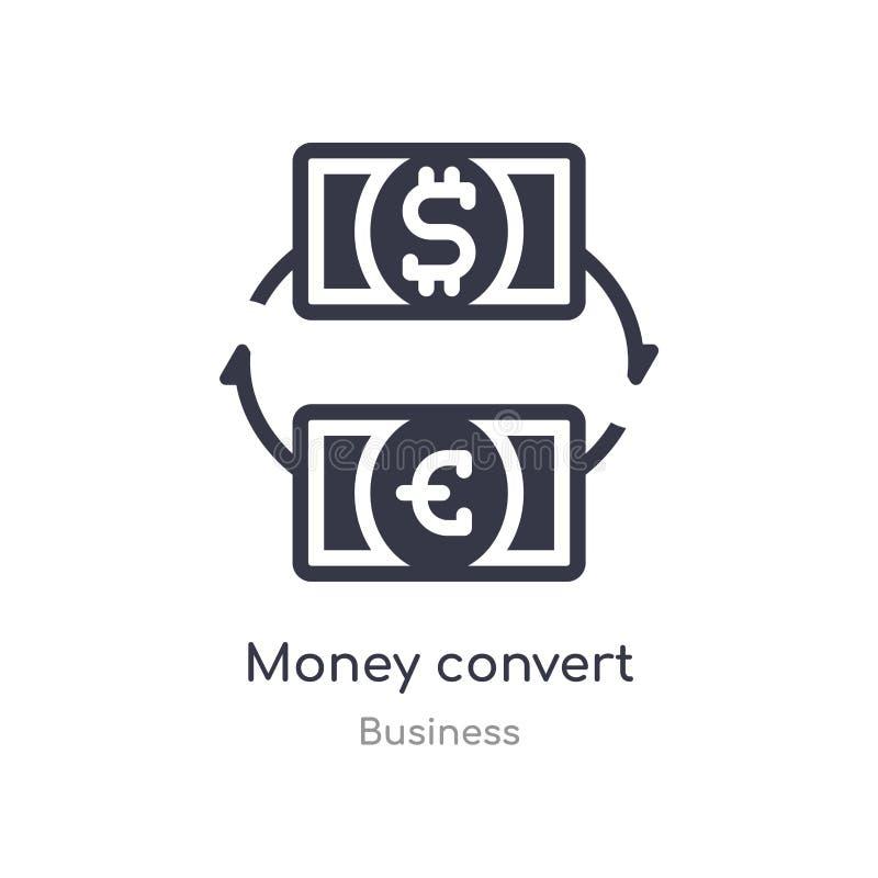 het geld zet overzichtspictogram om ge?soleerde lijn vectorillustratie van bedrijfsinzameling het editable dunne slaggeld zet pic royalty-vrije illustratie