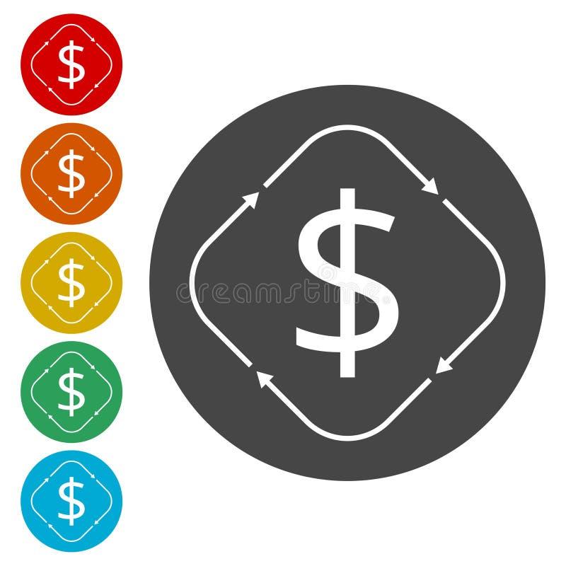 Het geld zet pictogram om stock illustratie