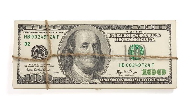Het geldbankbiljetten van dollars die op wit worden geïsoleerdG royalty-vrije stock afbeelding